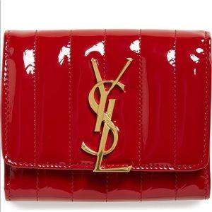SAINT LAURENT YSL Vicky Matelasse Tri-Fold Wallet